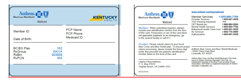 Medicaid identification card - Cabinet for Health and Family