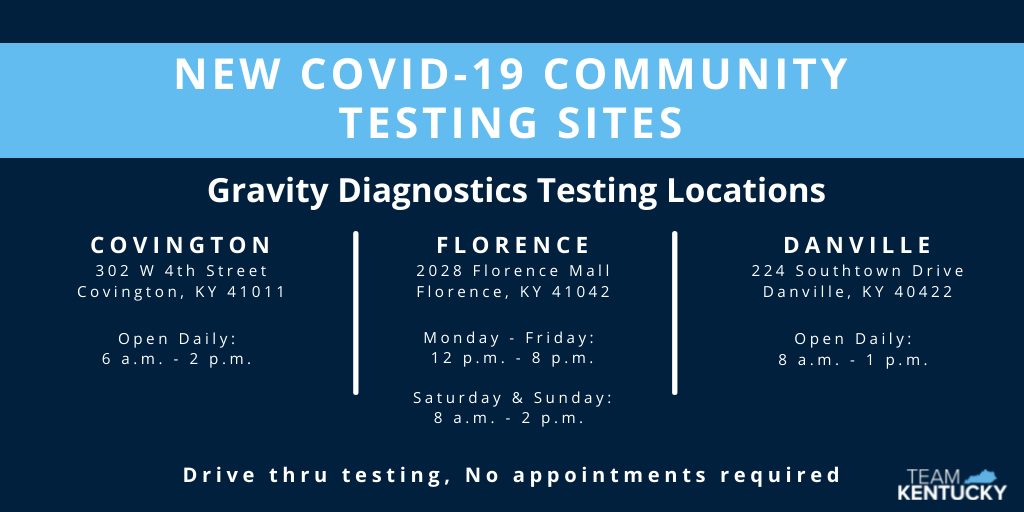 New COVID-19 Community Testing Sites - Gravity Diagnostics Testing Location - Daniville 224 Southtown Drive Danville, Kentucky 40422 - Beginning Friday AUg 27 from 7am - 12 noon, Drive thru testing available daily, no appointments required