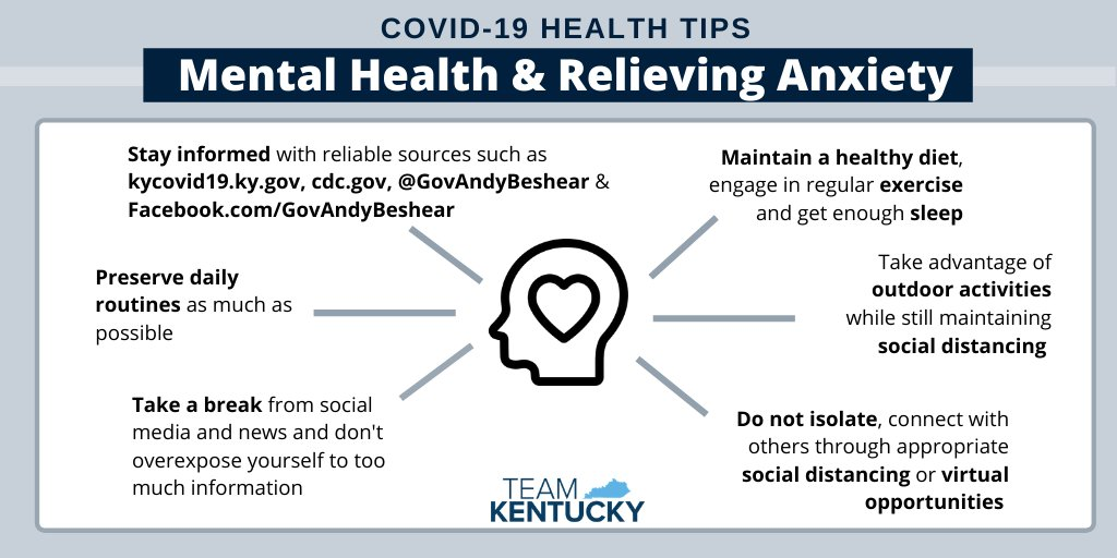 COVID-19 Health Tips, Mental health and relieving anxiety. 1, stay informed. 2, preserve daily routines. 3, Take a break. 4, Maintain a healthy diet, exercise and sleep. 5, take advantage of outdoor activities. 6, Do not isolate, connect with others through appropriate social distancing or virtual opportunities